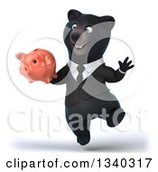 Clipart Of A 3d Black Business Bear Holding A Piggy Bank And Jumping Royalty Free Illustration