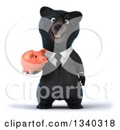 Clipart Of A 3d Bespectacled Black Business Bear Holding A Piggy Bank Royalty Free Illustration