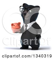 Clipart Of A 3d Bespectacled Black Business Bear Facing Slightly Left Holding And Looking At A Piggy Bank Royalty Free Illustration