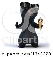 Clipart Of A 3d Happy Black Bear Wearing Sunglasses Giving A Thumb Up And Holding A Waffle Ice Cream Cone Royalty Free Illustration
