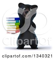 Clipart Of A 3d Bespectacled Happy Black Bear Holding And Pointing To A Stack Of Colorful Books Royalty Free Illustration