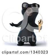 Clipart Of A 3d Happy Black Bear Wearing Sunglasses Presenting And Holding A Waffle Ice Cream Cone Royalty Free Illustration