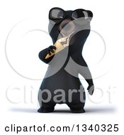 Clipart Of A 3d Happy Black Bear Wearing Sunglasses And Eating A Waffle Ice Cream Cone Royalty Free Illustration by Julos