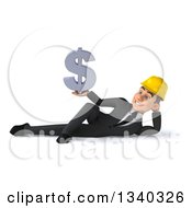 Clipart Of A 3d Young White Male Architect Holding A Dollar Currency Symbol And Resting On His Side Royalty Free Illustration