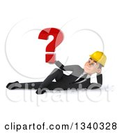 Clipart Of A 3d Young White Male Architect Holding A Question Mark And Resting On His Side Royalty Free Illustration