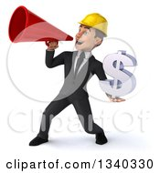 Clipart Of A 3d Young White Male Architect Holding A Dollar Currency Symbol And Announcing To The Left With A Megaphone Royalty Free Illustration