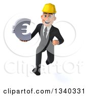 Clipart Of A 3d Young White Male Architect Holding A Euro Currency Symbol And Sprinting Royalty Free Illustration