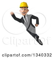 Clipart Of A 3d Young White Male Architect Flying And Smiling Royalty Free Illustration