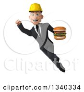 Clipart Of A 3d Young White Male Architect Holding A Double Cheeseburger And Flying Royalty Free Illustration