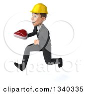 Clipart Of A 3d Young White Male Architect Holding A Beef Steak And Sprinting To The Left Royalty Free Illustration