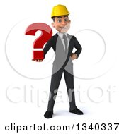 Clipart Of A 3d Young White Male Architect Holding A Question Mark Royalty Free Illustration