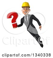 Clipart Of A 3d Young White Male Architect Holding A Question Mark And Flying Royalty Free Illustration