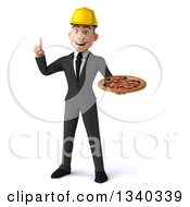 Clipart Of A 3d Young White Male Architect Holding Up A Finger And A Pizza Royalty Free Illustration