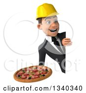 Clipart Of A 3d Young White Male Architect Holding A Pizza And Looking Around A Sign Royalty Free Illustration