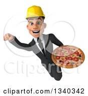 Clipart Of A 3d Young White Male Architect Holding A Pizza And Flying Royalty Free Illustration