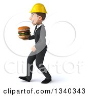 Clipart Of A 3d Young White Male Architect Holding A Double Cheeseburger And Walking To The Left Royalty Free Illustration