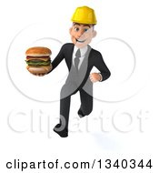 Clipart Of A 3d Young White Male Architect Holding A Double Cheeseburger And Sprinting Royalty Free Illustration