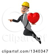 Clipart Of A 3d Young White Male Architect Holding A Red Love Heart Pointing And Flying Royalty Free Illustration