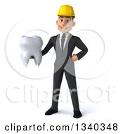 Clipart Of A 3d Young White Male Architect Holding A Tooth Royalty Free Illustration
