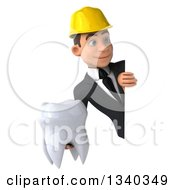 Clipart Of A 3d Young White Male Architect Holding A Tooth And Looking Around A Sign Royalty Free Illustration