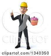 Clipart Of A 3d Young White Male Architect Holding Up A Finger And Holding A Pink Frosted Cupcake Royalty Free Illustration