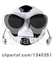 Clipart Of A 3d Sad Soccer Ball Character Wearing Sunglasses And Looking Down Royalty Free Illustration