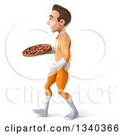Clipart Of A 3d Young Brunette White Male Super Hero In An Orange Suit Holding A Pizza And Walking To The Left Royalty Free Illustration