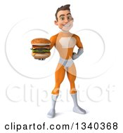 Clipart Of A 3d Young Brunette White Male Super Hero In An Orange Suit Holding A Double Cheeseburger Royalty Free Illustration