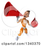Clipart Of A 3d Young Brunette White Male Super Hero In An Orange Suit Holding A Blood Drop And Announcing Upwards With A Megaphone Royalty Free Illustration