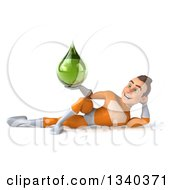 Clipart Of A 3d Young Brunette White Male Super Hero In An Orange Suit Holding A Green Tincture Drop And Resting On His Side Royalty Free Illustration