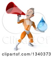 Clipart Of A 3d Young Brunette White Male Super Hero In An Orange Suit Holding A Water Drop And Announcing With A Bullhorn Royalty Free Illustration