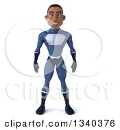 Clipart Of A 3d Young Black Male Super Hero Dark Blue Suit Royalty Free Illustration by Julos