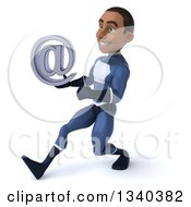 Clipart Of A 3d Young Black Male Super Hero Dark Blue Suit Holding An Email Arobase At Symbol And Speed Walking To The Left Royalty Free Illustration