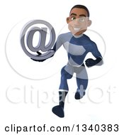 Clipart Of A 3d Young Black Male Super Hero Dark Blue Suit Holding An Email Arobase At Symbol And Sprinting Royalty Free Illustration