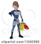 Clipart Of A 3d Young Black Male Super Hero Dark Blue Suit Holding Shopping Bags And Giving A Thumb Down Royalty Free Illustration