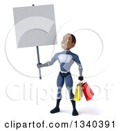 Clipart Of A 3d Young Black Male Super Hero Dark Blue Suit Holding Shopping Bags And A Blank Sign Royalty Free Illustration