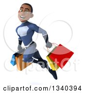 Clipart Of A 3d Young Black Male Super Hero Dark Blue Suit Holding Shopping Bags And Flying Royalty Free Illustration