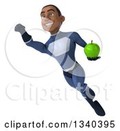 Clipart Of A 3d Young Black Male Super Hero Dark Blue Suit Holding A Green Apple And Flying Royalty Free Illustration