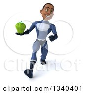Clipart Of A 3d Young Black Male Super Hero Dark Blue Suit Holding A Green Bell Pepper And Speed Walking Royalty Free Illustration