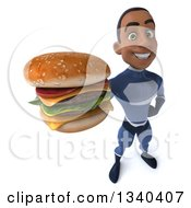 Clipart Of A 3d Young Black Male Super Hero Dark Blue Suit Holding Up A Double Cheeseburger Royalty Free Illustration