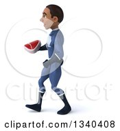 Clipart Of A 3d Young Black Male Super Hero Dark Blue Suit Holding A Beef Steak And Walking To The Left Royalty Free Illustration