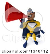 Clipart Of A 3d Muscular Black Male Super Hero In A Yellow And Blue Suit Announcing Upwards With A Megaphone Royalty Free Illustration