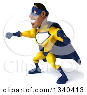 Clipart Of A 3d Muscular Black Male Super Hero In A Yellow And Blue Suit Facing Left And Punching Royalty Free Illustration