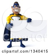 Clipart Of A 3d Muscular Black Male Super Hero In A Yellow And Blue Suit Holding A Blank Sign Royalty Free Illustration