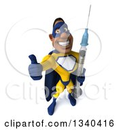 Clipart Of A 3d Muscular Black Male Super Hero In A Yellow And Blue Suit Holding Up A Thumb And A Giant Vaccine Syringe Royalty Free Illustration