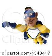 Clipart Of A 3d Flying Muscular Black Male Super Hero In A Yellow And Blue Suit Royalty Free Illustration by Julos