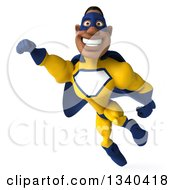 Clipart Of A 3d Flying Muscular Black Male Super Hero In A Yellow And Blue Suit 2 Royalty Free Illustration