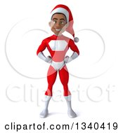 Clipart Of A 3d Young Black Male Christmas Super Hero Santa With Hands On His Hips Royalty Free Illustration by Julos
