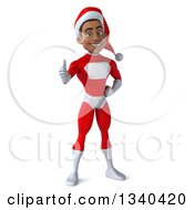 Clipart Of A 3d Young Black Male Christmas Super Hero Santa Giving A Thumb Up Royalty Free Illustration by Julos
