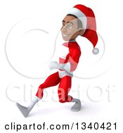Clipart Of A 3d Young Black Male Christmas Super Hero Santa Speed Walking To The Left Royalty Free Illustration by Julos